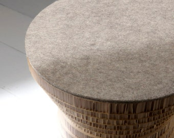 Recycled paper honeycomb and stool table PION top in natural felt bicolor