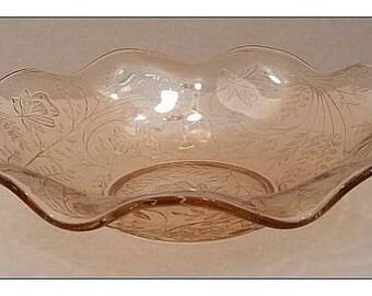 Vintage Jeannette Louisa-Iridescent Florgold Large Ruffled Bowl