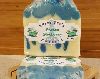 Frozen Blueberry, homemade soap, cold process soap, blueberry, Artisan soap