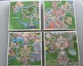 Disney Parks Map ceramic coaster set