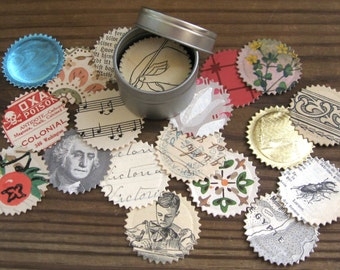 50 Adhesive Seals Made from Vintage Ephemera All Different in a Tin Starburst Die Cut Stickers