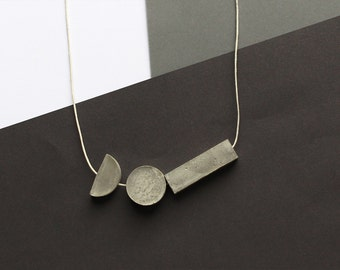 Concrete Bead Necklace on White String // Rectangle, Circle, Semi-Circle // Three Geometric Beads // Concrete Necklace - Handmade