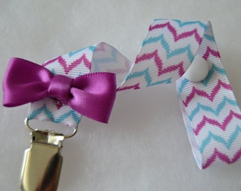 White And  Purple Chevron  Print Grosgrain Ribbon Pacifier Clip Soothie Holder-Purple Soothie Clip