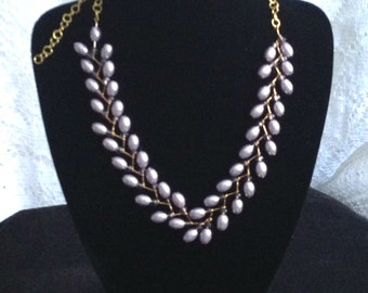 Lilac Glass Bead Necklace in Laurel Leaf Design