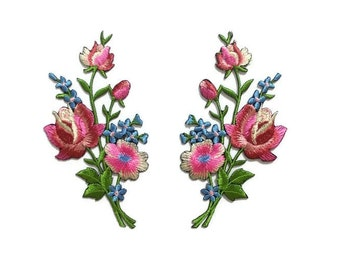 2 pcs./set, Floral embroidered patch, iron-on/sew-on appliques, 6 x 11 cm.,watermelon pink/chiffon white, little blue flowers, gifts (F-247)