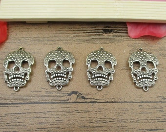 8 Skull Connector Charms ,Antique Silver Tone-RS288