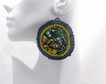 African Bloom #18 - Large Round Fabric Earrings
