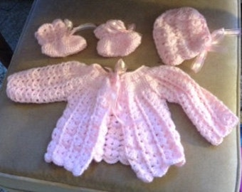 3 Piece Sweet Pea Pink Layette