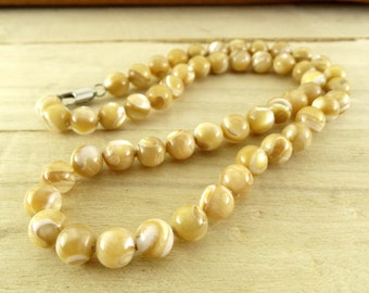 beaded necklace women necklace for women bead jewelry mother of pearl necklace for mother gift for mom beige necklace bridesmaid jewelry