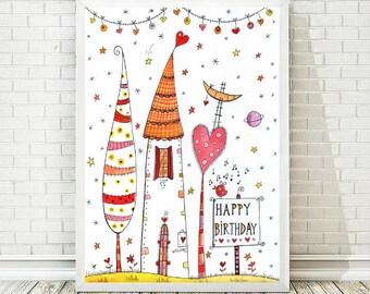 Christmas Gifts, Printable Art, Printable Poster, Happy Birthday, Happy Birthday Print, Folk Art, Birthday Printable,  INSTANT DOWNLOAD