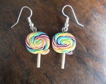 Earrings - Lollipop Rainbow - fimo polymer clay