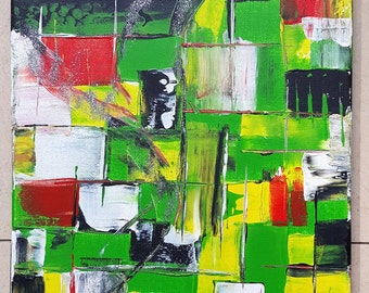 Acrylic painting abstract Karo fields green red black white glitter PuTTY 40 x 30 canvas