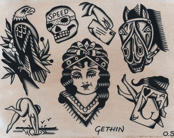 Tattoo art print - tattoo flash - traditional tattoo - sailor jerry - vintage tattoo - traditional eagle - tattooist - horse art