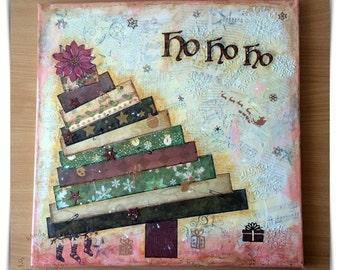 Christmas tree - canvas, mix media, collage, quatratisch, lighting, unique