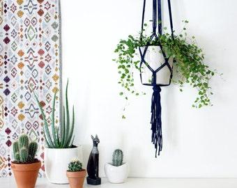 Suspension de plante en macramé couleur Indigo - 120 cm de long