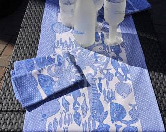 Fish Table Runner - Blue table runner - Table decoration. Home ware. Great wedding present as gift for couple for a beautiful table