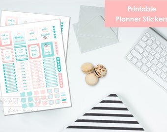 "Printable planner Stickers, mint and coral color. US Letter Size (8.5""x11""), Portrait. To do digital stickers. Instant download."