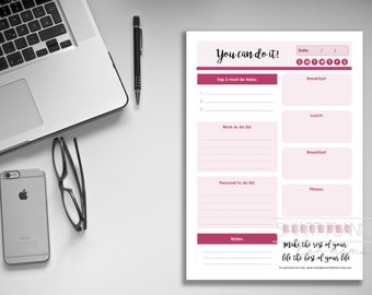 "Daily planner insert, printable. ""You can do it"" day plan and fitness. A4 and US Letter Size, Portrait. Instant download. PDF & JPEG format."