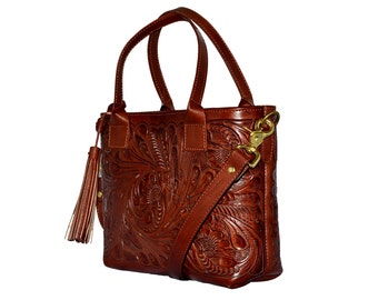 Hand Tooled Leather Bag/Crossbody Tooled Bag/Leather Carved Crossbody/Brown Leather Purse/Mexican Bag/Hand Tooled Leather/Mexican Style/