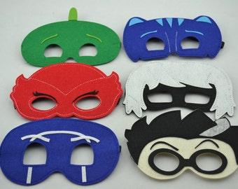 PJ Kids Masks ~ PJ Superhero Costume ~ Gekko, Catboy, Owlette, Luna Girl, Romeo, Night Ninja. Great for Kids Child Toddler Birthday Favors.
