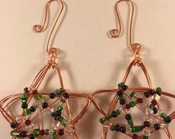 Sparkling Mixed Media Christmas STARs Pair of 2 Ornaments