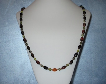 Agate and Yellow Turquoise long necklace