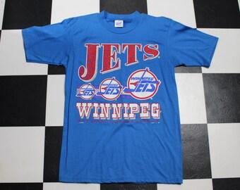 Vintage 80s 90s Winnipeg Jets Hockey Blue Large Tshirt