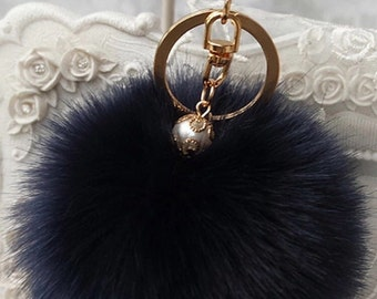 POM POM key chain/ bag charm in navy