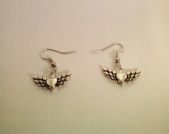Hearts with angel wings  earrings