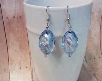 Blue ice dangle earrings