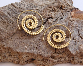 Handmade Golden Tone Swirl Spiral Earrings_MP/06378460334_Fashion accessories_Spiral_Gift Ideas