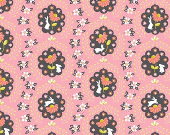 Bunny Fabric | Cute Bunny Rabbit Fabric | Pink | Rabbits and Flowers | Baby Girl Fabric | Nursery Decor | Little White Rabbit Print | Floral