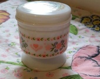 FREE SHIPPING! Vintage Avon, Heart & Flowers, Candle, Milk Glass Jar, Avon