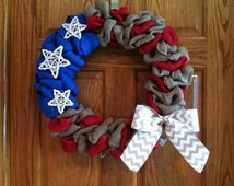Stars & Stripes Burlap Wreath with Chevron Ribbon