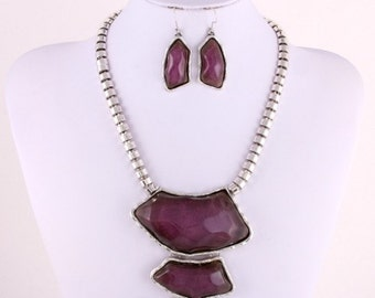 Bold Purple Necklace Set