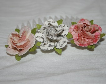 Pink paper flower and white with words paper flower hair comb