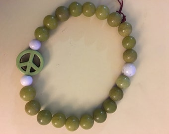 Lime Green Peace Sign Bracelet