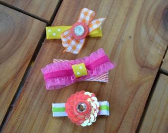 Tutti Fruity Trio-Little Girls Hair Clips {3 pack}
