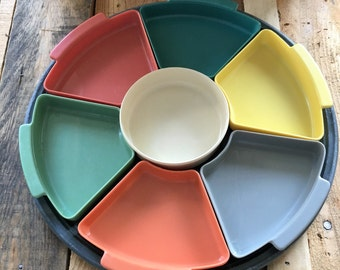Vintage Retro 1970s Melamine Sectioned Chip and Dip Tray / Pastel Colours / Plastic Partitioned Serving Tray