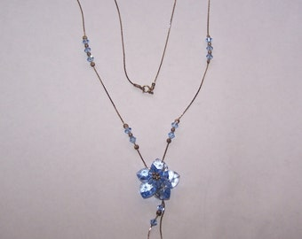 Vintage Blue Cut Glass Necklace with Silver and Bead Chain