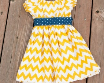 READY TO SHIP 12 month Fall Chevron Peasant Dress, Mustard yellow chevron dress, girls fall dress