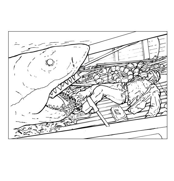 Shark Jaws Adult Coloring Book on Color The Stars 5 Coloring Page