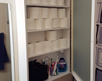 Solid Poplar Medicine Cabinet with Frosted Glass