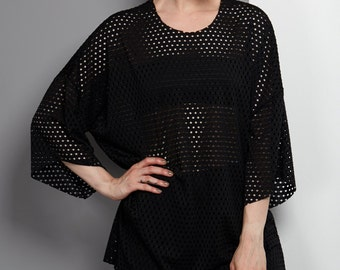 Black Airtex top, Loose Fit Tshirt, Day to Evening, Resort Wear, Made to Order