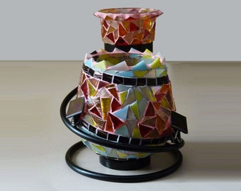 Tea Light Holder, Votive Candle Holder, Tea Light Candle Holder, Candles & Holders, Glass Mosaic Candle Holder, Mosaic Centerpiece