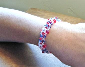 Red, White and Blue Swarovski Crystal Bracelet