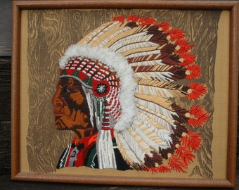 Vintage Crewel Embroidery, Native American Art,Cheyenne Chief