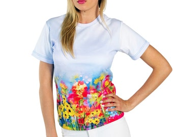Artisctic T-shirt with Abstract Spring Flowers