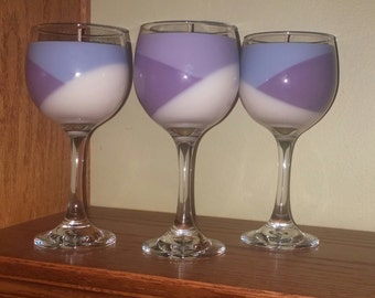 3 toned Wine Glass Candle