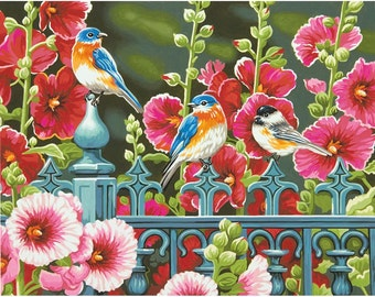 "Paint Works -Paint by Number Kit 11"" X 14 - Hollyhock Gate"